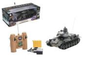 Tank RC plast 33cm T-34/85 27MHz na baterie+dobíjecí pack se zvukem a světlem v krabici