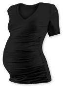 Těhotenské tričko kr. rukáv s výstřihem do V - černé