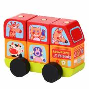 Minibus šťastná zvířátka - dřevěná skládačka Cubika