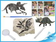 Dinosaurus 12 cm a zkamenělina v sádře s dlátem, lupou a štětcem