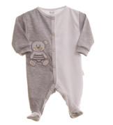 Kojenecký overal dlouhý rukáv/nohavice šedo-bílý s medvídkem