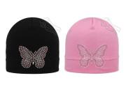Dívčí čepice s kamínky Motýl RDX