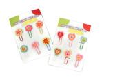 Veselé dřevěné sponky na papír květinky či srdíčka 6 ks