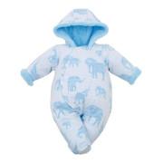 Zimní kojenecká kombinéza s kapucí Baby Service Sloni modrá