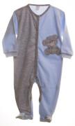 Kojenecký overal dlouhý rukáv/nohavice modrý/šedy + medvídek Vel. 50