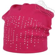 Dívčí spadlá čepice s kamínky Růžová RDX
