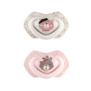 Silikonová šidítka symetrická set Light touch BONJOUR PARIS růžové