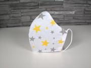 Látková respirační rouška - pro děti 7 - 12 let Hvězdy žlutá a šedá jednovrstvá