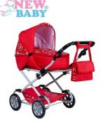 Dětský kočárek pro panenky 2v1 New Baby Monika červený