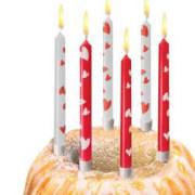 Narozeninové svíčky srdce + stojánky, 10 ks
