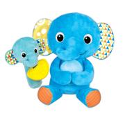 Plyšový kamarád 21 cm slon sedící s chrastítkem a kousátkem slůně 16 cm 6m+