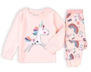 Pyžamo dívčí dlouhé Minoti s jednorožcem růžová