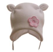 Čepice dětská zimní rohatá svetrovina s kytičkou MKcool Bílá