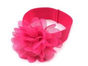 Dětská elastická čelenka s květem tm. růžová