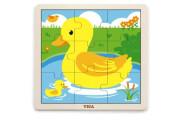 Dřevěné puzzle - kachnička 9 dílů Viga