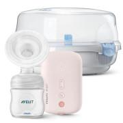 Odsávačka mateřského mléka elektronická SCF395 + Sterilizator do mikrovlnné trouby