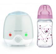 Elektrický ohřívač lahví Canpol babies + zdarma láhev Párty 240 ml růžová