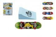 Skateboard prstový s rampou plast 10 cm