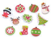 Dřevěný dekorační knoflík vánoční 1 ks