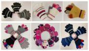 Zimní prstové rukavičky pletené proužkované Vel. M (3-5 let)