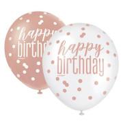 """Balónek pastel 30 cm potisk """"Happy birthday"""" rosegold 6 ks"""