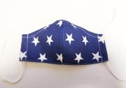 Látková respirační rouška - maska pro děti 7 - 12 let s kapsičkou hvězdy modrá