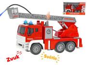 Auto hasiči 28 cm stříkající vodu na setrvačník na baterie se světlem a zvukem