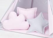 Dekorační polštářky šedá/sv. růžová 3 ks