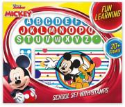 Školní set s razítky - Mickey a závodníci