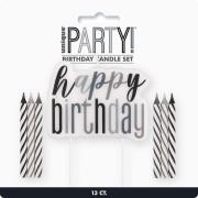 Set svíček - černo-stříbrné Happy Birthday! 13 ks