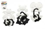 Kousátko zvířátka + přívěsky černobílé