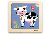 Dřevěné puzzle 4 dílky - kráva