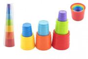 Kubus pyramida skládanka plast kulatá barevná 7ks