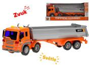 Auto nákladní 38 cm na setrvačník na baterie se světlem a zvukem oranžové