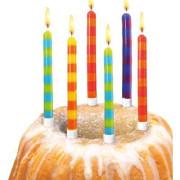 Narozeninové svíčky proužky + stojánky 12 ks