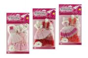 Šaty/Oblečky na panenky 2ks s doplňky