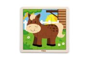 Dřevěné puzzle 9 dílků - kůň Viga