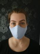Látková respirační rouška - maska dvouvrstvá s kapsou modrá
