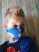 Látková respirační rouška - maska pro děti 7 - 12 let s kapsičkou modrá koala