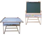 Oboustranná dřevěná tabule + stolek 2v1