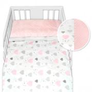 Bavlněné povlečení s minky Baby Nellys 120 x 90 cm Růžová a šedá srdíčka
