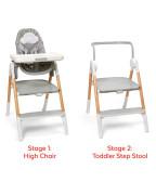 Židle jídelní/schůdky 2v1 Sit To Step šedo-bílá