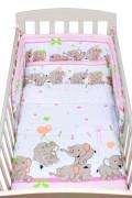 2-dílné ložní povlečení New Baby 90/120 cm růžové se sloníky