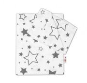 Bavlněné povlečení Baby Nellys 120 x 90 cm Šedé hvězdy a hvězdičky - bílý