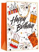 Dárková taška M - Ohňostroje a dárky Happy birthday 17,7 x 22,7 cm