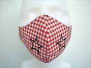 Látková respirační rouška - maska dámská jednovrstvá vánoční Červené káro - hvězdy