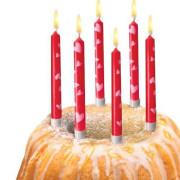 Narozeninové svíčky srdce + stojánky, 10ks
