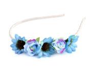 Čelenka do vlasů s květy modrá