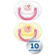 Šidítko anatomické silikonové Avent 0-6 měsíců - žlutý I love milk 2ks