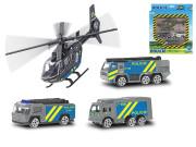 Vozidla policie 7cm kov volný chod 3ks s vrtulníkem 17cm
